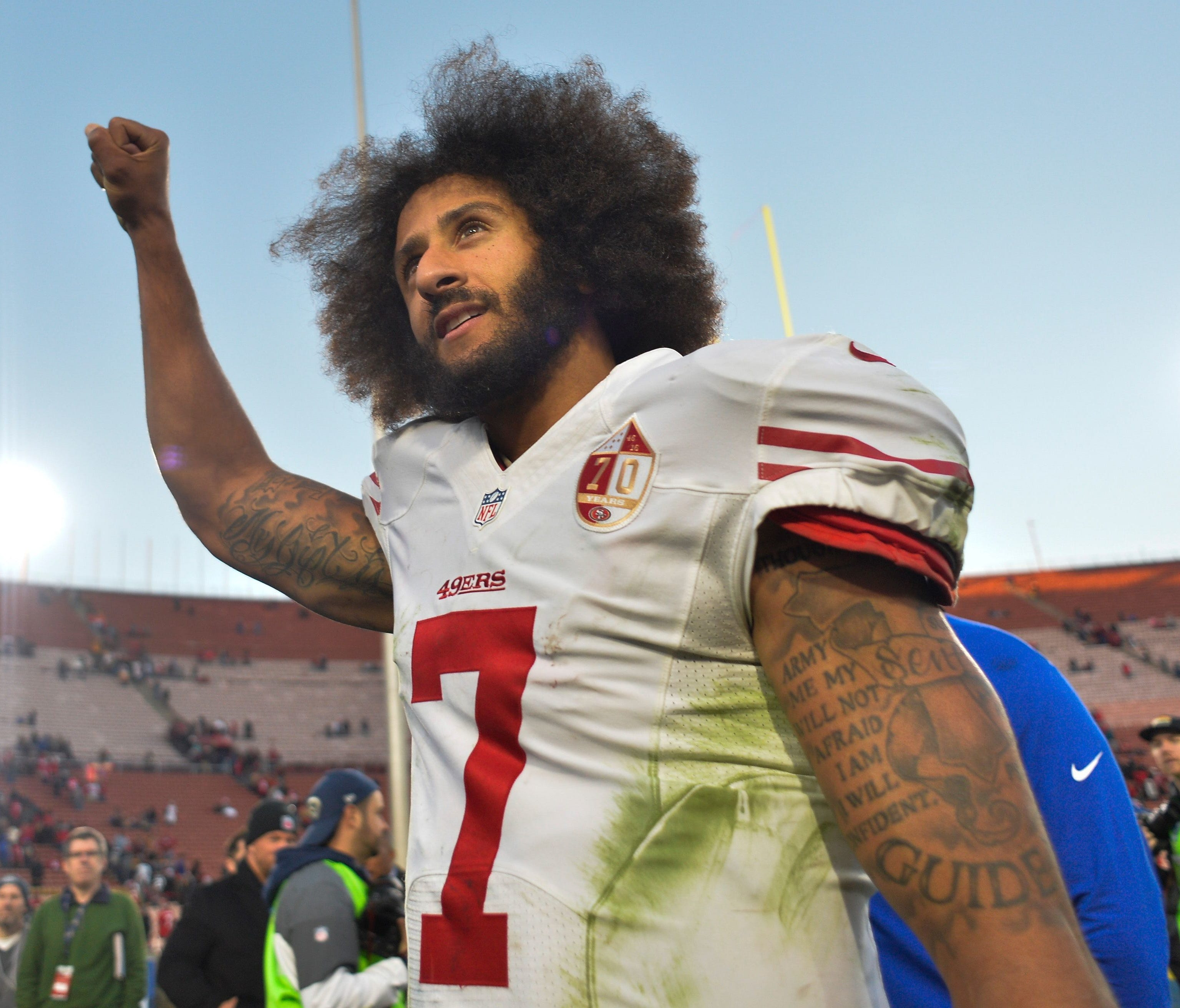 Free agent QB Colin Kaepernick hasn't played an NFL game since 2016, when he began protesting during the national anthem.