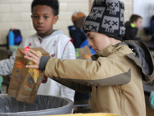 McKinley Elementary students sort their trash at lunchtime.