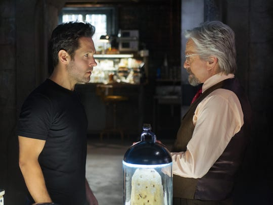 Paul Rudd and Michael Douglas appear in a scene from