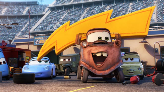 "Guido (from left), Sally, Sarge, Mater and Luigi return in ""Cars 3."""