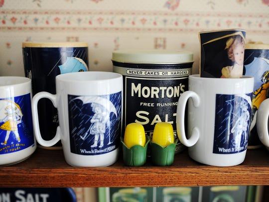 Pieces of Morton Salt memorabilia belonging to Arlene Lefler.
