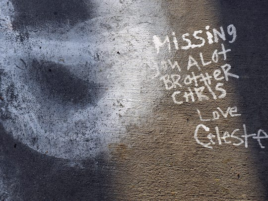 """Written on the sidewalk by his sister Celeste in 2011, a note to Chris Lopez, then 22 years-old, is still poignant. Families on Sunday held a """"100 Mothers"""" vigil in north Salinas for victims of Monterey County violence."""