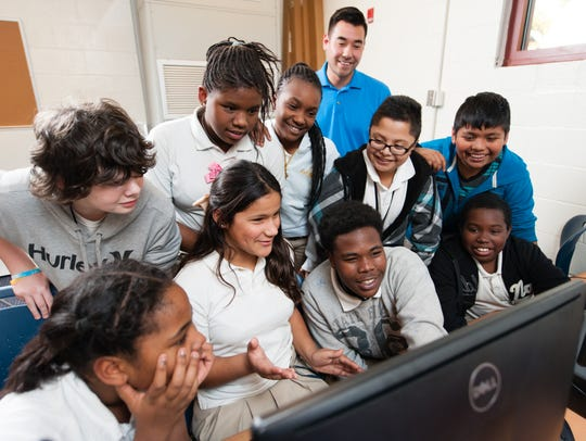 Students at Northwoods Middle School in North Charleston,
