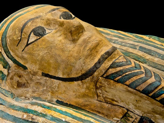 An Egyptian sarcophagus, likely more than 2,000 years
