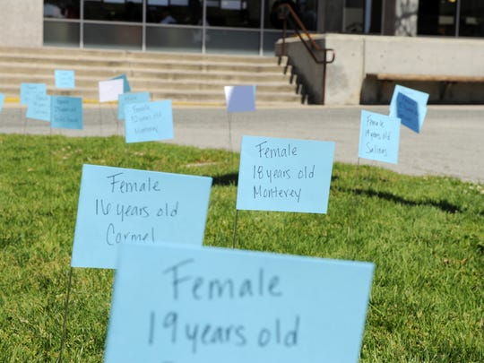 """Participating students placed """"A Time to Stop Rape"""" teal flags around Hartnell College's main quad in August 2013 in a consciousness-raising effort led by The Monterey County Rape Crisis Center during Sexual Assault Awareness Month. Forcible rape is committed every 5.7 minutes in America - flags representing actual rape victims were planted at this interval throughout the day."""