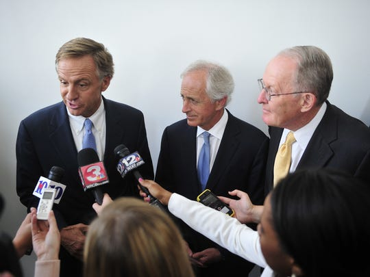 Gov. Bill Haslam and Sen. Bob Corker and Sen. Lamar Alexander speak at The Hunter Museum in Chattanooga, Tenn., Tuesday, July 15, 2014.