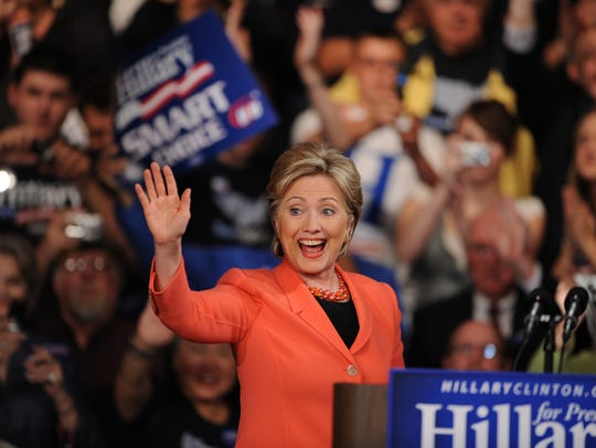 Hillary Clinton appears at a rally in Charleston, W.Va.,