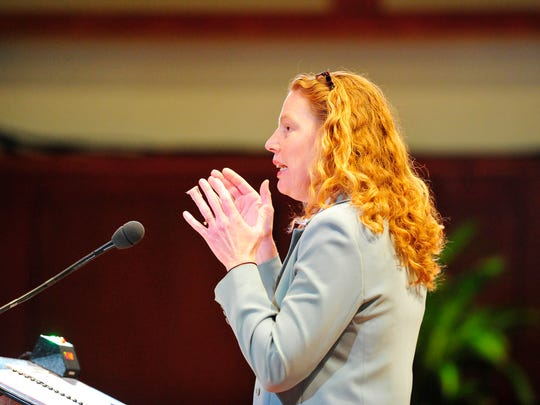 Lora Fox speaks as the Tennessee Supreme Court hears