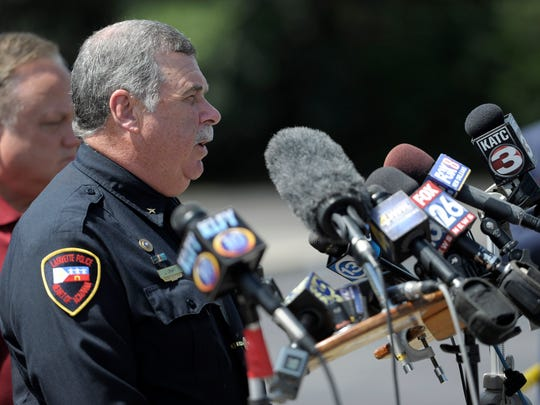 Lafayette Police Department Chief Jim Craft provides