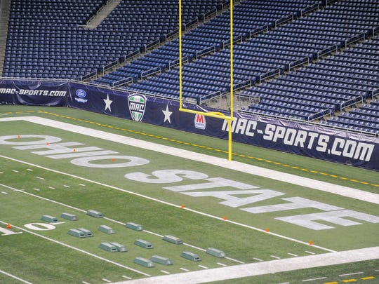 """Ford Field's end zone is decorated with """"Ohio State"""""""