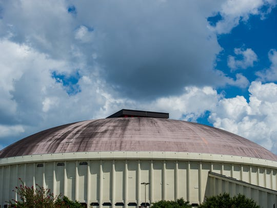 The roof of the Cajundome is pictured in Lafayette,