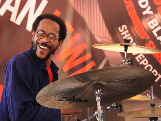 "Brian Blade drums for The Hallelujah Train at the Stan ""The Record Man"" Lewis Music Festival Saturday in downtown Shreveport."