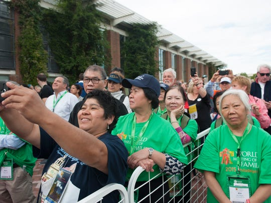 Thousands listen as Pope Francis delivers a speech at Independence Mall on Saturday.