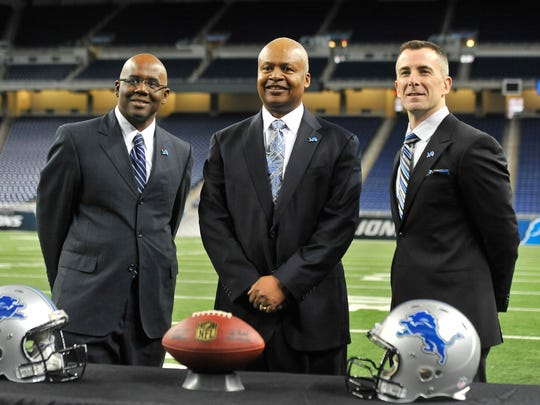 From left, Martin Mayhew, Jim Caldwell and Tom Lewand are pictured at the press conference introducing Caldwell as coach in 2014.