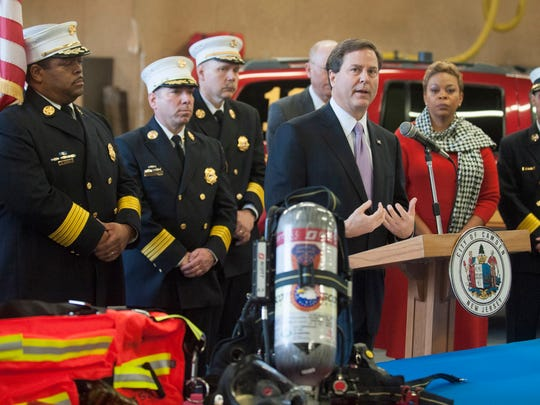 Congressman Donald Norcross talks about the joint $1.7M grant awarded to upgrade equipment for the Camden, Collingswood, and Pennsauken fire departments. Wednesday, December 23, 2015.