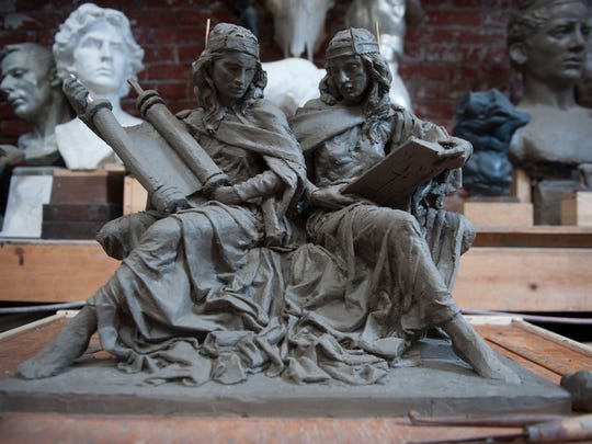 """Artist model of """"Synagoga and Ecclesia in Our Time"""" by Joshua Koffman that he used create the final bronze piece that rests at St. Joseph's University. Pope Francis was also presented with a 1st addition bronze copy of the model at the Vatican. Thursday, January 14, 2016."""