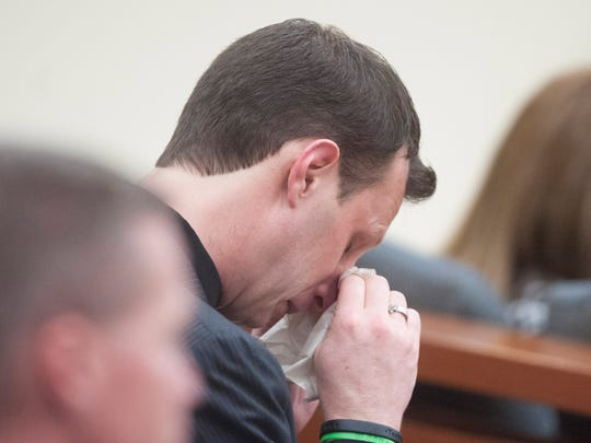 Jason Sharp, brother-in-law of murder victim David Compton, is overcome with emotion during the sentencing of ex-Deptford Police officer James Stuart in Gloucester County Superior Court. Stuart was sentenced to 30 years in prison for the murder of his friend David Compton, 27,  who was shot in the cheek inside Stuart's Deptford home in January 2013. Friday, January 29, 2016.