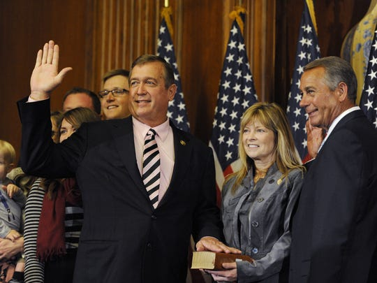 Rep. Cresent Hardy, R-Nevada, left, is sworn in by