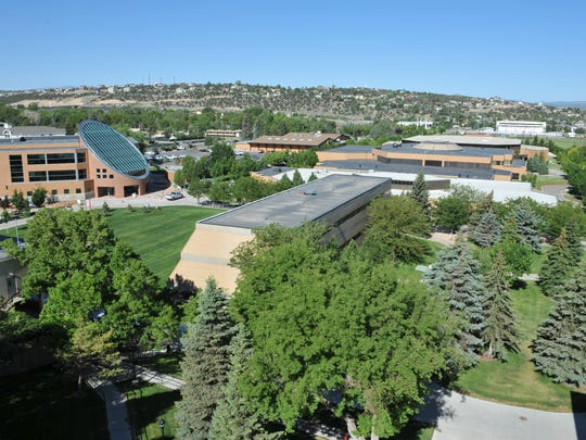 An aerial view of the Gerald Sherratt Library, and other buildings, on the campus of SUU.