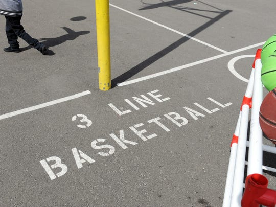 Areas of play activity are clearly marked at Sherwood Elementary School in Salinas.