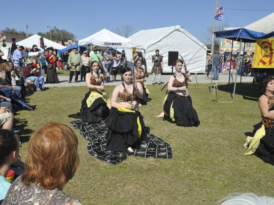 The Raq Garden Belly Dancers from Mobile,Ala., performed Saturday at the Gulf Coast Renaissance Faire and Pirate Festival.