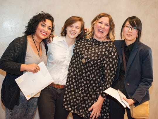McQueen High School Art Teacher Skye Snyder celebrates with a few of her students who received top honors at the 2016 Scholastic Art Awards presented March 16 at the Nevada Museum of Art, 160 West Liberty Street in downtown Reno, Nevada.