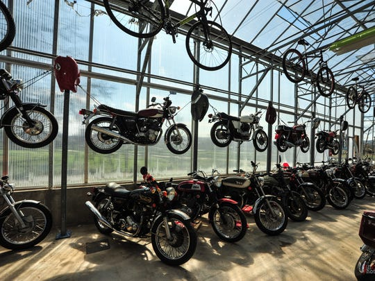 Bikes in the sun at the Greenhouse Moto Cafe.