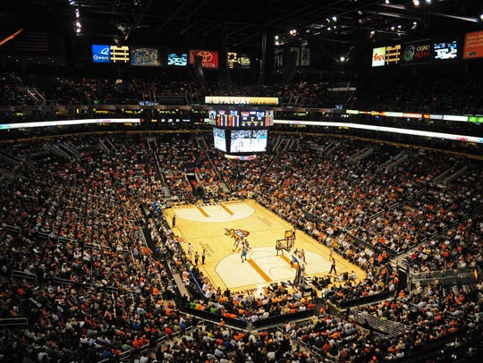 General view of the US Airways Center during the game between the Phoenix Suns against the New Orleans Hornets