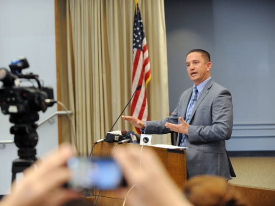 Detective Gabriel Gonzalez of the Salinas Police Department speaks at a press conference on Wednesday addressing child sex abuse. The department is working with the Monterey County Rape Crisis Center to prevent, detect and respond to the crime.