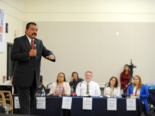 District 2 Salinas City Councilmember Tony Barrera summarizes a position at the Californian's District 1 Supervisor Forum on Wednesday.