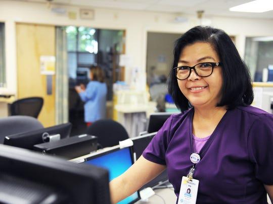 Nurse of the Year Mercedes Labindalaua at SVMH on Wednesday morning.
