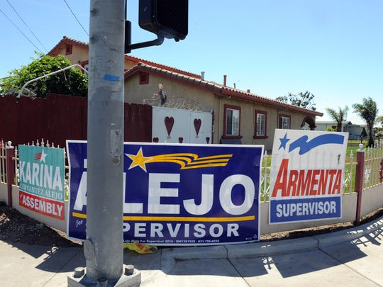 Campaign signs compete for attention in east Salinas, CA, on Tuesday afternoon, June 7th, 2016.