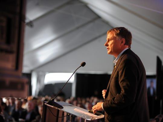 John Hartnett of SVG Partners addresses the Forbes AgTech Summit held in 2015 on Main St. in Salinas.