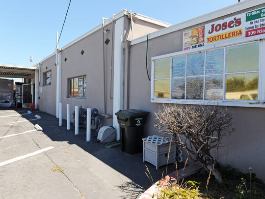 The loading dock at Jose's Tortilleria, located at 309 Rianda Street, where an armed robbery was interrupted on Wednesday night in Salinas.