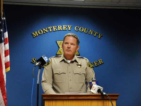 Monterey County Sheriff Steve Bernal speaks at a press conference on Wednesday about the recovery of a number of stolen weapons, and the arrest of multiple suspects.