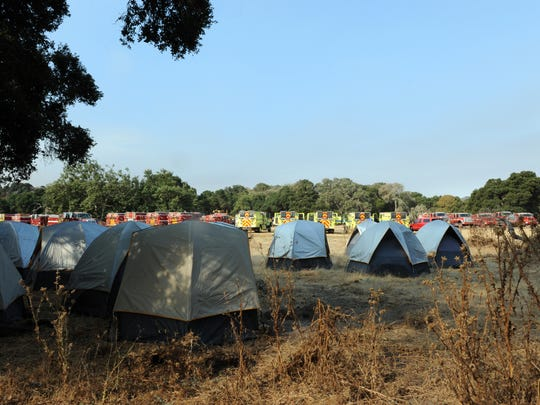 Tents provide temporary housing for the hundreds of fire crews enlisted to battle the Soberanes fire on Thursday, July 28th, 2016.