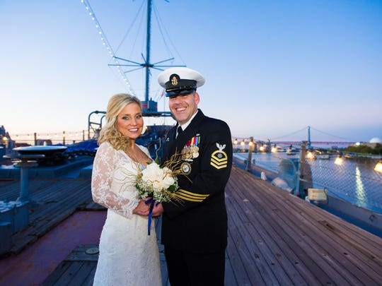 Amy Taylor and Chief Petty Officer Dennis Gillard were married on the Battleship New Jersey in October 2015.