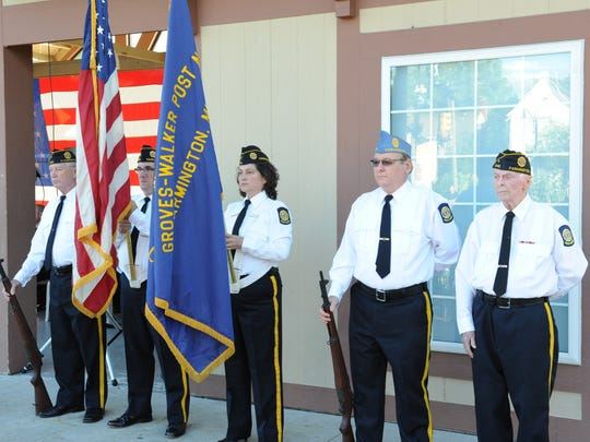 American Legion Groves-Walker Post #346 Honor Guard take part in the Patriot Day Ceremony held in Sunday evening in downtown Farmington.