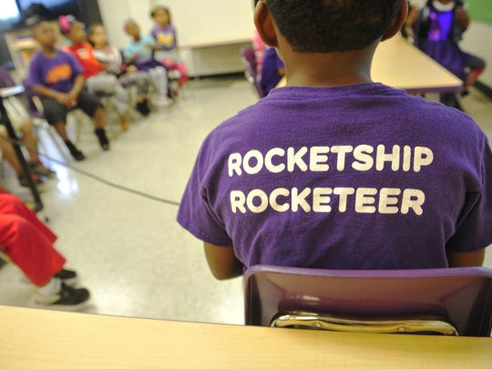 A student shows his school pride at Rocketship Nashville Northeast Elementary.