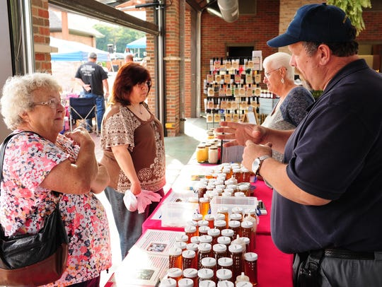 Agnes Wynn of Westland talks with Scott-Tish Bee Honey
