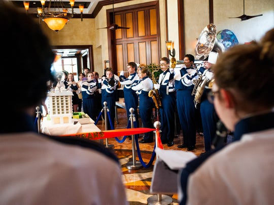 The Estero High School marching band plays during the 15th anniversary celebration of the Hyatt Regency Coconut Point Resort and Spa in Bonita Springs on Wednesday, Sept. 21, 2016. The resort commemorated the anniversary with a performance by the Estero High School marching band, which played at the resort's opening shortly after the 9/11 attacks in 2001.