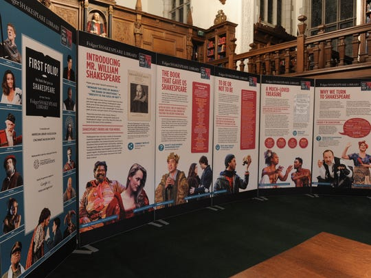 The panels that are part of First Folio exhibition, shown here at the Folger Shakespeare Library's Reading Room.