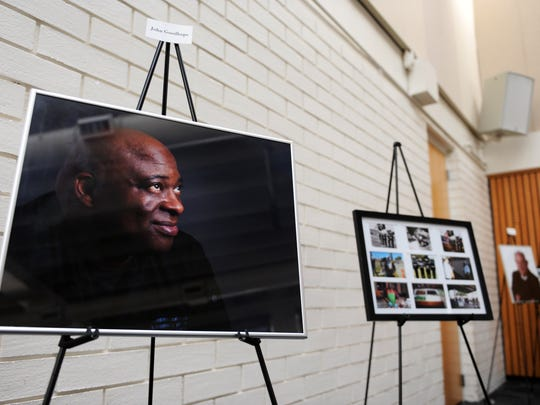 A portrait of veteran John Goodhope, among others at a ceremony honoring veterans held at Hartnell on Thursday.