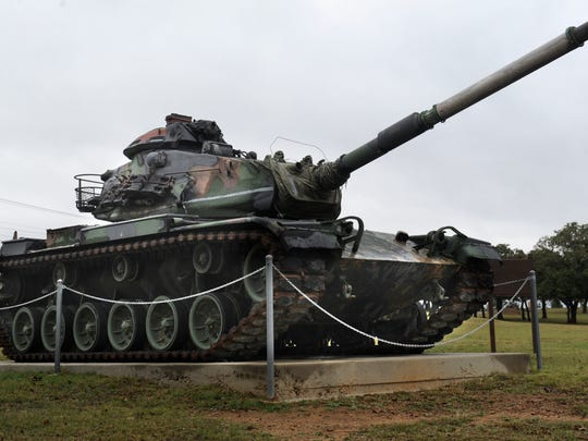 An M60A3 tank, which saw service in the U.S. Army until 1980, is one of the static displays of military equipment in the 36th Division War Memorial Park in Brownwood. A new memorial at the park will be dedicated Friday morning at 10:30.