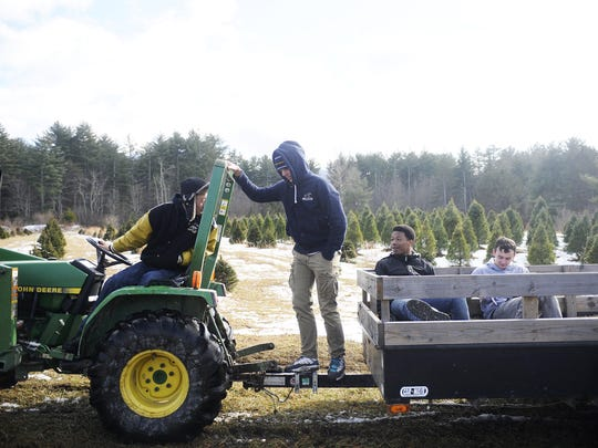 """Justin Lee, Austin Groah, Austin Clay and Austin Hoy wait to help cut down trees for customers at the Boys? Home Christmas Tree Farm on Dec. 15 in West Augusta. """"You see everybody else with their family else and you're like, dang, you wish you were with your family sometimes. But it's fun, I guess,"""" said Groah."""