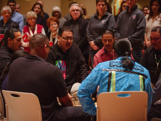 The Bucks Native American Singing and Drumming Group opened and closed Present Music's gratitude-themed concert.