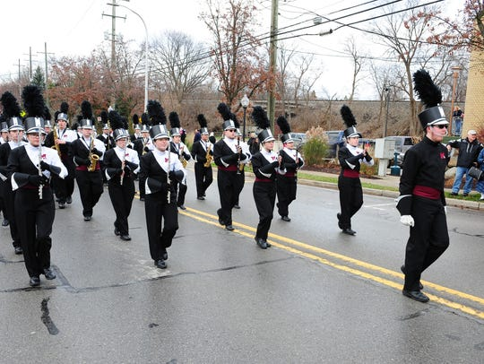 Milford High School Marching Band entertains at the