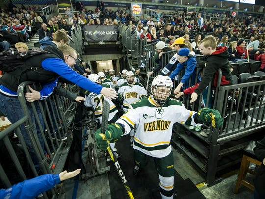 Vermont heads out onto the ice during the men's hockey