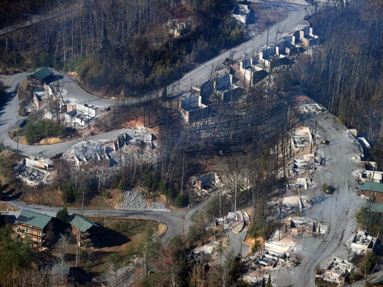 An aerial view shows destroyed homes the day after