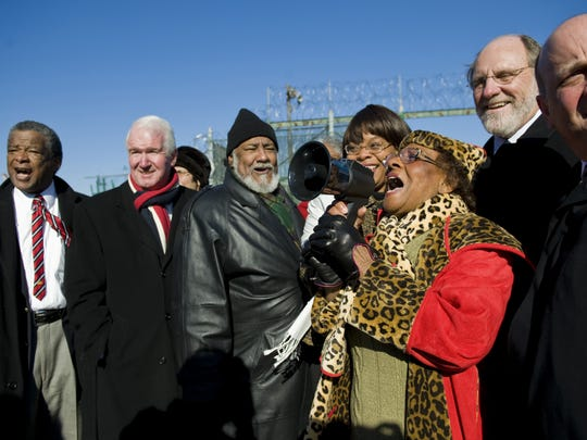 Rod Sadler (center, black hat) celebrates the demolition of Riverfront State Prison in 2009 along with then-Mayor Gwen Faison, then-Gov. Jon Corzine and Jeff Nash (far right).